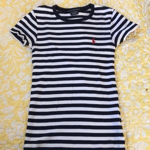 Navy and white striped short sleeved T-shirt